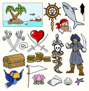 Pirate Vector Illustrations & Cartoons