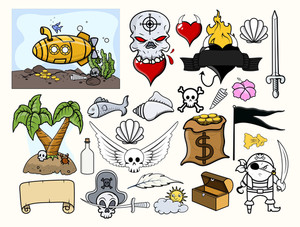 Pirate Vector Illustrations Set