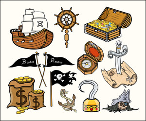Pirates And Stuff - Cartoon Vector Illustration