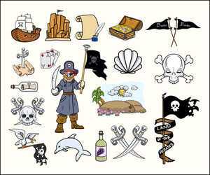 Pirates Cartoon Vectors Set