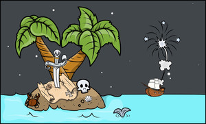 Pirates Coming To An Island - Vector Cartoon Illustration