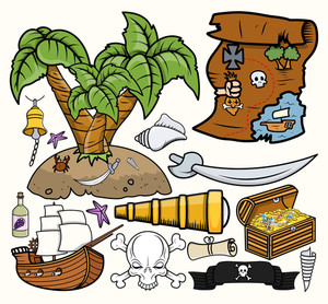 Pirates Treasure Hunt Vector Illustrations Set