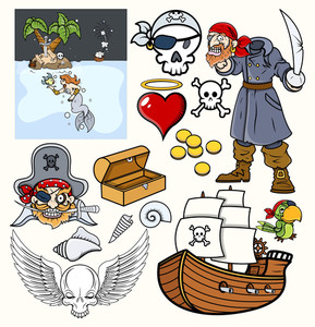 Pirates Vector Illustrations Set