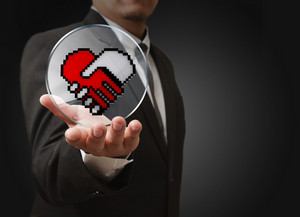 Pixel Hand Shake Heart Shaped Symbol As Medical Technology Concept
