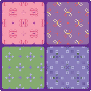 Set Of 4 Pixel Patterns
