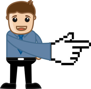 Pixel Pointer Hand - Vector Character Illustration