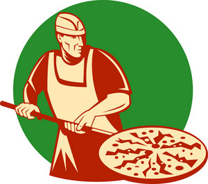 Pizza Pie Maker Or Baker Holding Baking Pan