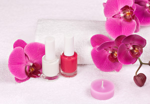 Place for manicure decorated with orchid flower