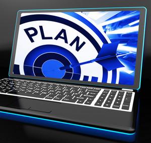 Plan On Laptop Showing Careful Planning