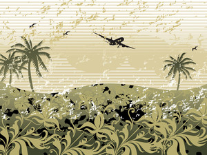 Plane Flying High In The Sky Over Palm Tree Background