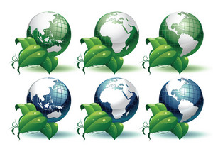 Planet Earth With Leaves Different Views Vector Illustration