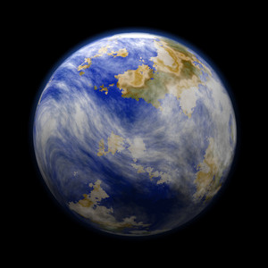 Planet With Earth Clouds