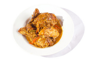 Plate Of Roasted Chicken In Barbecue Sauce