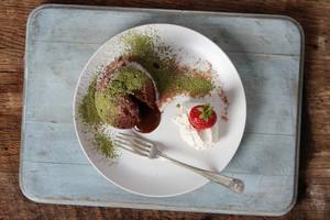 Plated Chocolate Fondant Cake
