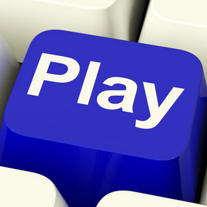 Play Computer Key In Blue For Playing Media