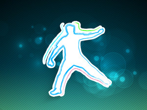 Playing Actions Of A Bowler On Shiny Blue Abstract Background.
