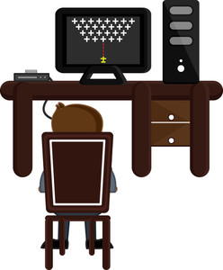Playing Game On Desktop Computer - Business Cartoons Vectors