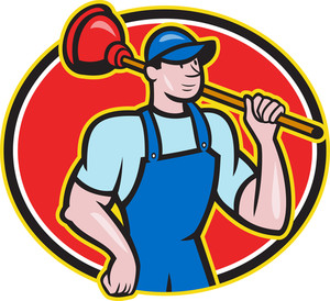 Plumber Holding Plunger Cartoon