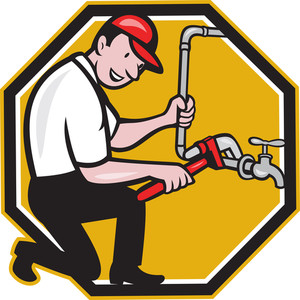 Plumber Repair Faucet Tap Cartoon