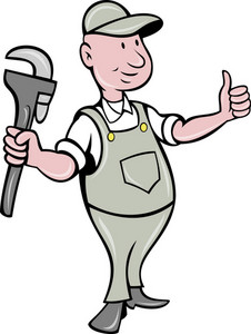 Plumber With Monkey Wrench Thumbs Up