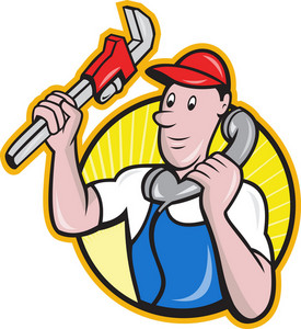 Plumber Worker With Adjustable Wrench Phone