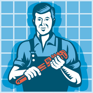 Plumber Worker With Monkey Wrench Retro