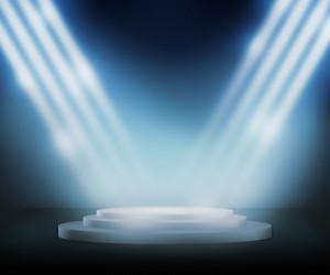Podium Spotlight Blue Background