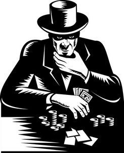 Poker Player Gambler Gambling Retro