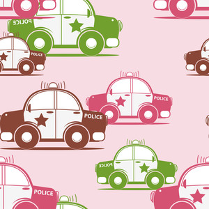 Police Car Seamless Pattern. Vector Illustration