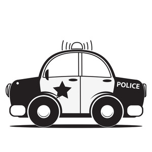 Police Car Silhouette. Vector Illustration