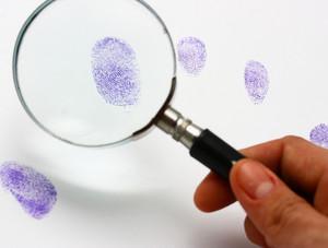Police Examine A Fingerprint