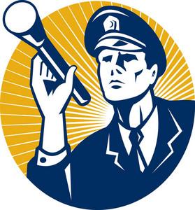 Policeman Security Guard With Flashlight Retro