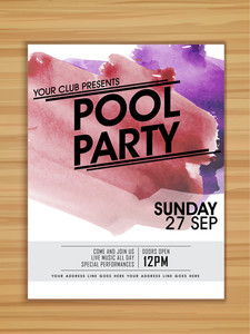 Pool Party celebration template flyer or banner with colorful splash on wooden background.