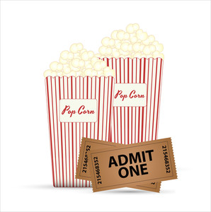 Popcorn And Tickets Vector Designs
