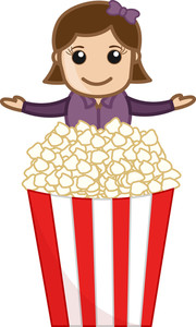 Popcorn Sale - Cartoon Business Vector Character