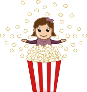Popcorns  - Cartoon Business Vector Character