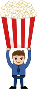 Popcorns Free - Cartoon Business Vector Character