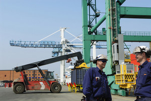 port and dock workers inside container port