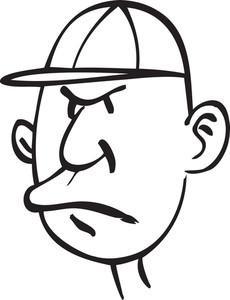 Portrait Of A An Old Cartoon Man.