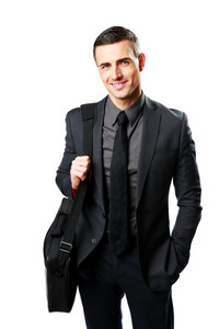Portrait of a cheerful businessman with bag isolated on a white background