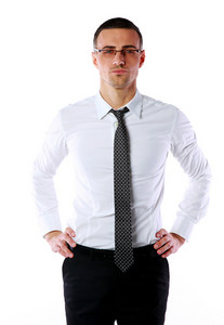 Portrait of a confident businessman in glasses over whtie background