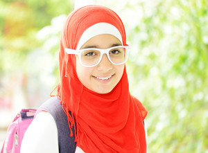 Portrait of a fresh beauty arabian school teenage girl with hijab
