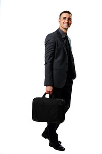 Portrait of a happy businessman with bag isolated on a white background
