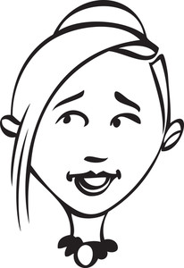 Portrait Of A Happy Girl Cartoon.