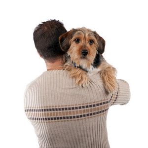 Portrait of a man holding a cute mixed breed dog over his shoulder isolated over white.
