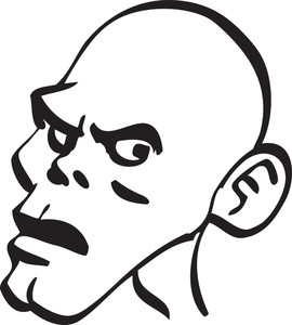 Portrait Of A Shocked Face Of A Bald Man.