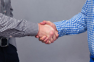 Portrait of a two male hands doing handshake