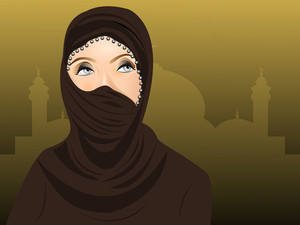 Portrait Of Beautiful Arabian Woman In Hijab