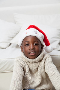 Portrait of black boy on Christmas