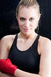 Portrait of boxing training blond woman sparring
